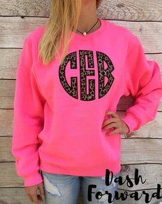 Circle Initials Monogrammed Sweatshirt BIG Cheetah by DashForward