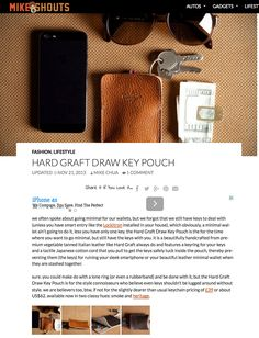"""""""beautifully handcrafted from premium vegetable tanned Italian leather like Hard Graft always do and features a keyring for your keys and a tactile Japanese cotton cord that you pull to get the keys safely tuck inside the pouch, thereby preventing them (the keys) for ruining your sleek smartphone or your beautiful leather minimal wallet when they are stashed together."""""""