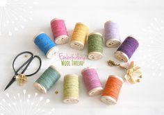 Wool Embroidery Thread - Wool Thread - Rustic Wool Thread - Moire Wool Thread - Colorful Thread - Thread on a Wooden Spool - Colorful Wool Embroidery, Embroidery Scissors, Wool Applique, Wool Thread, Cotton Thread, Wooden Spools, Felt Sheets, Felt Ball, Metallic Thread