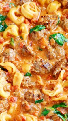 Italian Sausage Tortellini ~ Bursting with rich, fresh flavors. A decadent, creamy tomato sauce surrounds pillowy soft, cheesy tortellini and bold, seasoned Italian sausage.