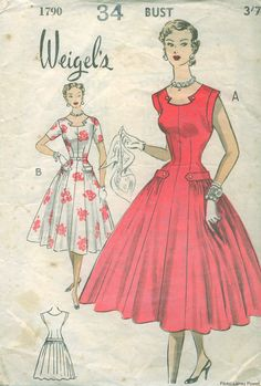 1950s sewing pattern for women's dresses