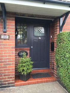 A beautiful Anthracite Grey Newark. Rockdoor manufacture the most secure Front d. Front Door Canopy, Front Door Porch, Porch Doors, Front Porch Design, Front Door Entrance, House Front Door, Barn Doors, Sliding Doors, Grey Composite Front Door
