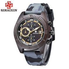 SIHAIXIN Military Sport Watch Men with Silicone Strap Quartz Wood Wristwatch Chronograph Clock Man Waterproof 2018 New Arrival