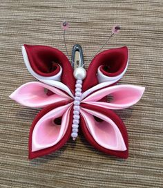 Items similar to Hair Clip, Butterfly, Girls, Kanzashi. on Etsy Ribbon Art, Diy Ribbon, Ribbon Crafts, Flower Crafts, Ribbon Bows, Cloth Flowers, Satin Flowers, Diy Flowers, Fabric Flowers