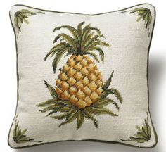 Golden Pineapple Square Pillow
