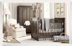 brown, blue and ivory nursery