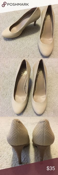 Vince Camuto Creamy White Snakeskin Heels New - never been worn. Creamy-white snakeskin-like heels. Great condition. Size 6.5. Wood heel. Vince Camuto Shoes Heels