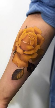 Feed Your Ink Addiction With 50 Of The Most Beautiful Rose Tattoo Designs For Men And Women - beautiful yellow rose tattoo © tattoo artist Pony Wave ❤🌹❤🌹❤🌹❤🌹❤ - Yellow Tattoo, Yellow Rose Tattoos, Tiny Rose Tattoos, Rose Tattoos For Men, Tattoos For Guys, Tattoos For Women, Tattoo Women, Colorful Rose Tattoos, Floral Tattoos