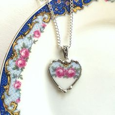 Recycled upcycled broken china jewelry heart pendant necklace antique china pink rose on blue