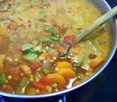 Moroccan vegetable soup.This soup contains an assortment of nutritional goodies;carotenoids and fibre from vegetables and lentils.