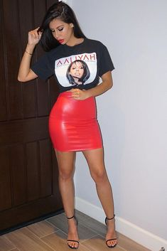Pair a curve-hugging red latex mini skirt with a black graphic tee and strappy heels for a sexy looks that's not over the top. High Skirts, Red Skirts, Cute Skirts, Red Skirt Outfits, Sexy Outfits, Fashion Outfits, Trendy Outfits, Tight Dresses, Midi Skirts