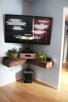 floating corner shelf timber under tv - Google Search
