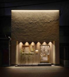 Facade Lighting, Lighting Design, Facade Design, Wall Design, Organic Restaurant, Store Signage, Indirect Lighting, Museum Displays, Boutique Interior
