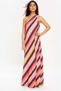 Pale Orchid Pink Stripe One Shoulder Dress - Dresses - Clothing - Wallis Europe