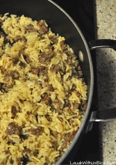 Sausage Rice Skillet Recipe--Quick, easy, spicy meal that disappears in a jiff!