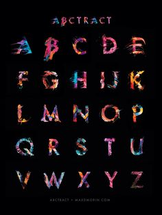 Max Morin is a freelance graphic designer who did an alphabet in paint and abstraction. Imagined in collaboration with American artist Jim Lepage, this complete Creative Typography, Typography Letters, Typography Logo, Letter Art, Letter Logo, Lettering Design, Logo Design, Inspiration Typographie, Typography Inspiration