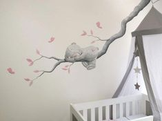 Me to You bear lying on a branch – painting made on spachtelputz (structure) by BIM Mu - Kinderzimmer Nursery Wall Quotes, Baby Nursery Decor, Baby Bedroom, Nursery Room, Girl Nursery, Girl Room, Kids Bedroom, Baby Zimmer, Nursery Paintings