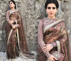 Samantha Ruth Prabhu at Akhil and Shriya Bhupal Engagement Photo, Samantha Ruth Prabhu Sabyasachi Saree.