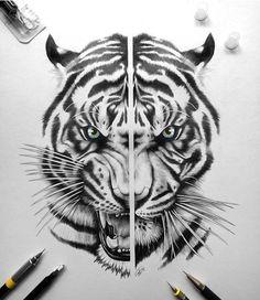 Tiger Head Tattoo, Tiger Tattoo Design, Tiger Design, Head Tattoos, Small Tattoos, Sleeve Tattoos, Dragon Tattoos, Tattoo Designs, Tiger Sketch