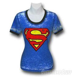 Superman Juniors Hippie Ringer T-Shirt