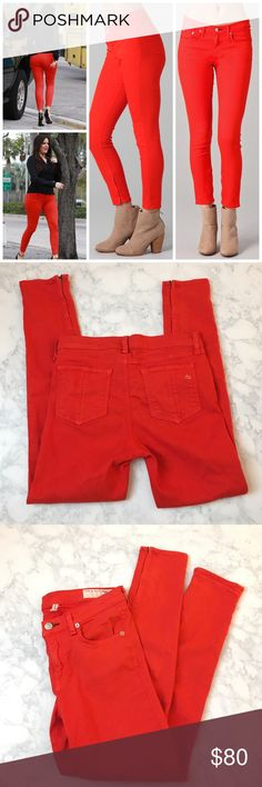 👖👖Rag & Bone Red Orange Zipper Capri Jean size 7 This Rag & Bone Red Orange Zipper Capri Jean size 27 is in great condition, no flaws. Fabric is stretchy and lightweight 55% cotton, 42% Tencel, 3% Spandex. Inseam 26.5. Zipper on ankles. rag & bone Jeans Skinny