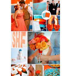 Decoração do casamento com laranja e azul claro