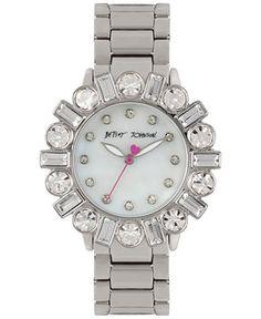 Betsey Johnson Women's Silver-Tone Bracelet Watch 38mm BJ00612-01 - Watches - Jewelry & Watches - Macy's