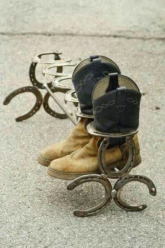 Boot rack made with horse shoes!! Love it!!