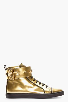 VERSACE Gold Patent Leather Buckled High-top Sneakers