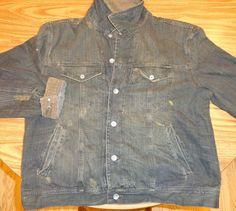 NWT Old Navy Distressed Black/Brown Flannel Lined SZ L Denim Jacket #OldNavy #DenimJacket