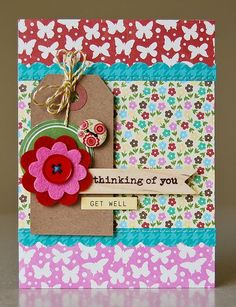 Get Well Card by Pam Brown using Jillibean Soup's coconut Lime Soup Collection, Neopolitan Bean Bisque Papers, Cool Beans, Wood Flag, Red Felt Blossom, Baker's Twine and Kraft Tag (via the Jillibean Soup blog).