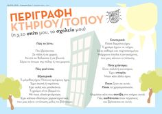 Πλάνο περιγραφής κτηρίου - τόπου Vocabulary Exercises, Grammar Exercises, Writing Activities, Educational Activities, Learn Greek, Receptive Language, Greek Language, Teaching Methods, School Decorations