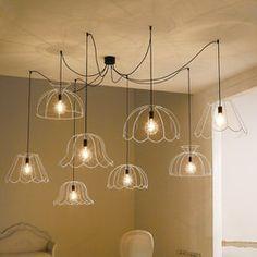 Éclairage - plusieurs suspensions pour une sortie électrique - idée à transposer dans un autre style