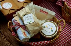 Woodland picnic party. Guests fill a basket with their food choices.