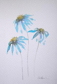 ECHINACEA 3 aquarel schilderen originele kunst door Amanda