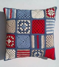 Your place to buy and sell all things handmade - SALE Nautical crochet cushion . - My Pins - Your place to buy and sell all things handmade – SALE Nautical crochet cushion cover by Jayneann - Crochet Motifs, Tunisian Crochet, Crochet Squares, Crochet Granny, Crochet Patterns, Granny Squares, Hair Patterns, Knitting Patterns, Crochet Cushion Cover