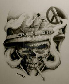 Tattoo skull military