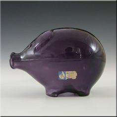 Lindshammar Swedish Purple Glass Piggy Bank by Gunnar Ander - £29.99