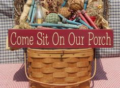 """Come Sit On Our Porch painted wood sign 3.5"""" x 20"""" choice of color"""