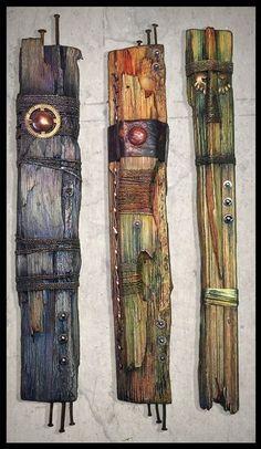 Mixed media art totems by Brian Giberson of Indigo Lights - assemblage art Wood Sculpture, Sculptures, Afrique Art, Assemblage Art, Driftwood Art, Recycled Art, Jewelry Companies, Fabric Art, Medium Art
