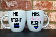 This mug set is perfect for any newly married couple! Dont want a Law Enforcement theme? We can customize the mugs to your desire! Just send
