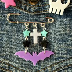 Pastel Goth Jewelry Star Bat Cross Brooch Pastel by blacktulipshop