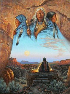'Grandmothers' - by Charles Frizzell -- (Native American, Indian, art, illustrations, western, wild wild west) http://frizzellstudios.com/