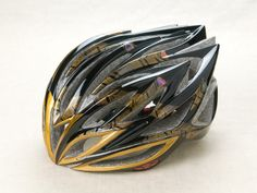 """Urushi Rider's Helmet """"Phoenix"""" Rigid Styrofoam, polycarbonate (helmet body), natural lacquer, mother of pearl, gold dust, silver dust (processing). Playful and unexpected, this helmet uses traditional maki-e techniques to depict a phoenix in flight – perhaps a fitting image for a cyclist. The lacquer is strongly resistant to UV light, allowing the helmet to be worn outdoors.#IshikawaArtsNow2014 #Ishikawa #CoolJapan Kaba Jikichi Lacquerware company, Kaba Motoki, CEO http://www.jikichi.jp/"""