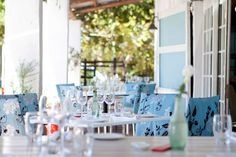 Outdoor tables at The Foodbarn, Noordhoek, Cape Town.