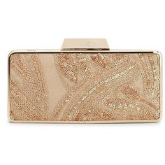 Belle By Badgley Mischka Monique Sequined Minaudiere ($108) ❤ liked on Polyvore featuring bags, handbags, clutches, gold, beige handbags, beige purse, sequin clutches, minaudiere purse and belle badgley mischka