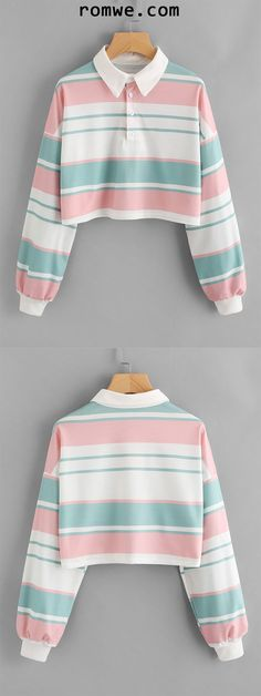 Drop Shoulder Striped Crop Pullover