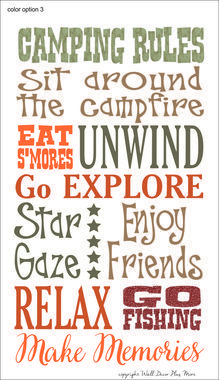 Subway Art IDEA~Add some colorful decor to your camper or RV with this printed vinyl decal | Make sure to hang these camping rules as a reminder to RELAX and ENJOY vacation