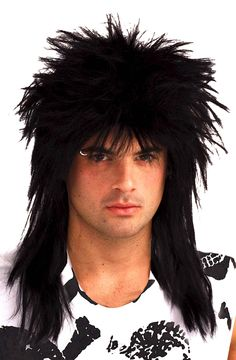 Amazon.com: Forum Novelties Men's 80's Rock Star Wig, Black, One Size: Costume Wigs: Clothing