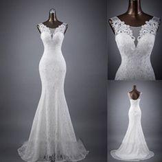 Elegant Sleeveless Mermaid Lace Up Popular White Lace Wedding Dresses, WD0142 #weddingdresses